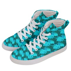 Coconut Palm Trees Blue Green Sea Small Print Women s Hi Top Skate Sneakers by CrypticFragmentsColors