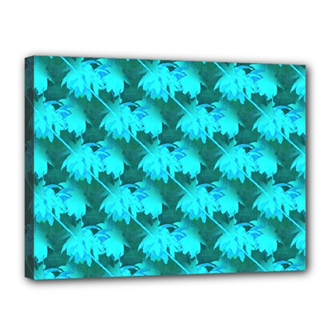 Coconut Palm Trees Blue Green Sea Small Print Canvas 16  X 12  by CrypticFragmentsColors