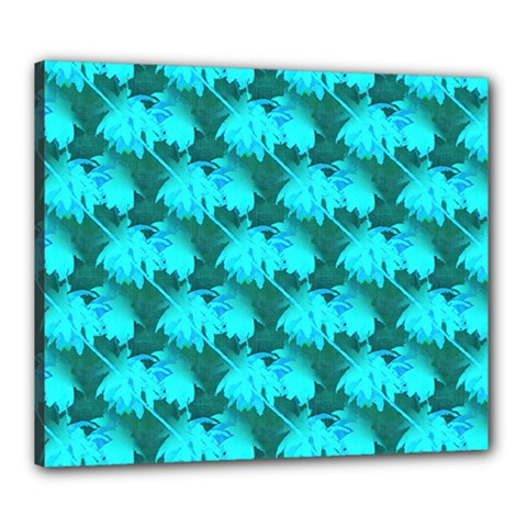 Coconut Palm Trees Blue Green Sea Small Print Canvas 24  X 20  by CrypticFragmentsColors