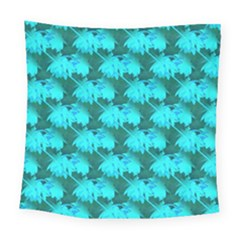 Coconut Palm Trees Blue Green Sea Small Print Square Tapestry (large) by CrypticFragmentsColors