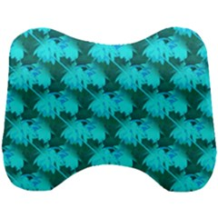 Coconut Palm Trees Blue Green Sea Small Print Head Support Cushion by CrypticFragmentsColors
