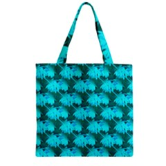 Coconut Palm Trees Blue Green Sea Small Print Zipper Grocery Tote Bag by CrypticFragmentsColors