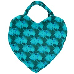 Coconut Palm Trees Blue Green Sea Small Print Giant Heart Shaped Tote by CrypticFragmentsColors
