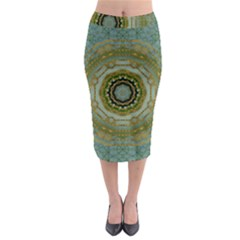 Modern Fantasy Rococo Flower And Lilies Midi Pencil Skirt by pepitasart
