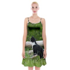 Farm Cat Spaghetti Strap Velvet Dress