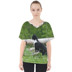 Farm Cat V Neck Dolman Drape Top by IIPhotographyAndDesigns