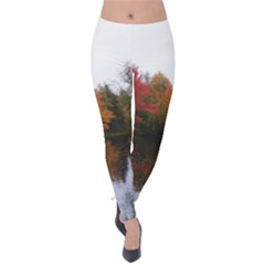 Autumn Pond Velvet Leggings by IIPhotographyAndDesigns