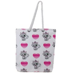 Evil Sweetheart Kitty Full Print Rope Handle Tote (large) by IIPhotographyAndDesigns
