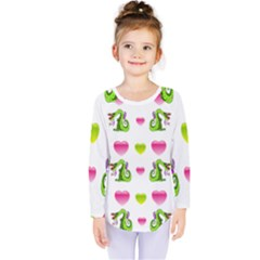 Dragons And Hearts Kids  Long Sleeve Tee