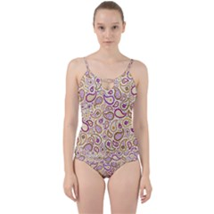 Damascus Image Purple Background Cut Out Top Tankini Set