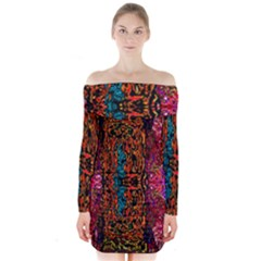 Retro Multi Colors Pattern Created By Flipstylez Designs Long Sleeve Off Shoulder Dress