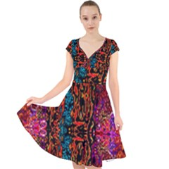 Retro Multi Colors Pattern Created By Flipstylez Designs Cap Sleeve Front Wrap Midi Dress