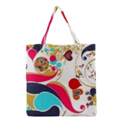 Retro Colorful Colors Splashes Grocery Tote Bag by flipstylezdes