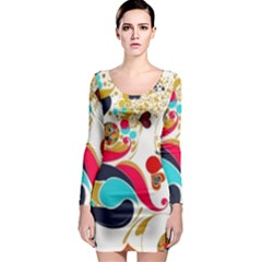 Retro Colorful Colors Splashes Long Sleeve Bodycon Dress