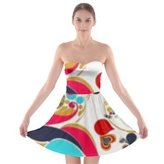 Retro Colorful Colors Splashes Strapless Bra Top Dress