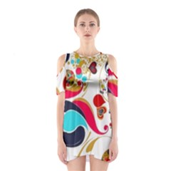 Retro Colorful Colors Splashes Shoulder Cutout One Piece