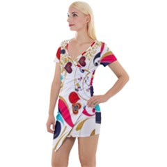 Retro Colorful Colors Splashes Short Sleeve Asymmetric Mini Dress by flipstylezdes