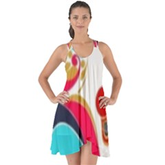 Retro Colorful Colors Splashes Show Some Back Chiffon Dress