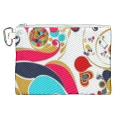 Retro Colorful Colors Splashes Canvas Cosmetic Bag (xl)