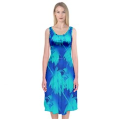 Coconut Palm Trees Ocean Blue Midi Sleeveless Dress by CrypticFragmentsColors
