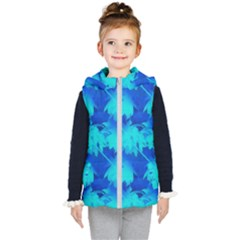 Coconut Palm Trees Ocean Blue Kid s Hooded Puffer Vest