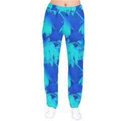 Coconut Palm Trees Ocean Blue Velvet Drawstring Pants by CrypticFragmentsColors