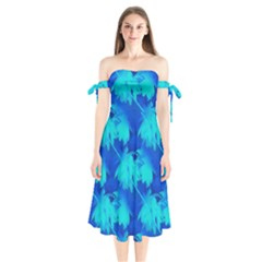 Coconut Palm Trees Ocean Blue Shoulder Tie Bardot Midi Dress by CrypticFragmentsColors