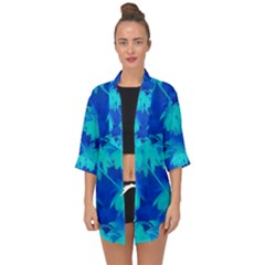 Coconut Palm Trees Ocean Blue Open Front Chiffon Kimono by CrypticFragmentsColors
