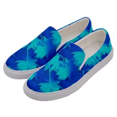 Coconut Palm Trees Ocean Blue Men s Canvas Slip Ons by CrypticFragmentsColors