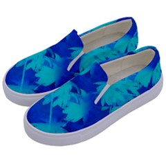 Coconut Palm Trees Ocean Blue Kids  Canvas Slip Ons by CrypticFragmentsColors