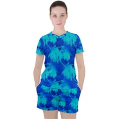 Coconut Palm Trees Ocean Blue Women s Mesh Tee And Shorts Set