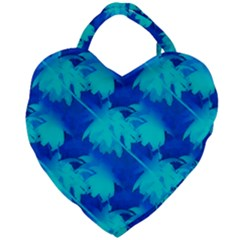 Coconut Palm Trees Ocean Blue Giant Heart Shaped Tote by CrypticFragmentsColors
