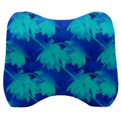 Coconut Palm Trees Ocean Blue Velour Head Support Cushion by CrypticFragmentsColors