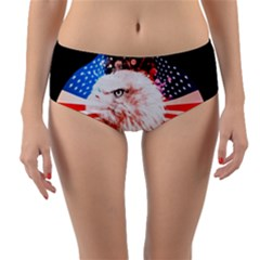 Independence Day, Eagle With Usa Flag Reversible Mid Waist Bikini Bottoms