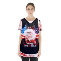 Independence Day, Eagle With Usa Flag Skirt Hem Sports Top by FantasyWorld7