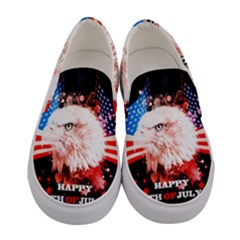 Independence Day, Eagle With Usa Flag Women s Canvas Slip Ons