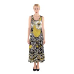 Gold Four Leaf Clover With Abstract Designs Sleeveless Maxi Dress