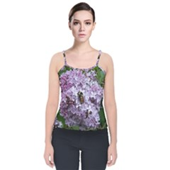 Lilac Bumble Bee Velvet Spaghetti Strap Top