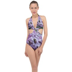 Lilac Bumble Bee Halter Front Plunge Swimsuit by IIPhotographyAndDesigns