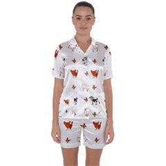 Farm Animals Satin Short Sleeve Pyjamas Set