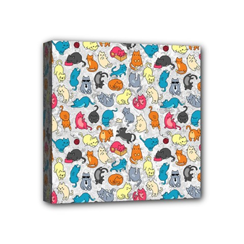 Funny Cute Colorful Cats Pattern Mini Canvas 4  X 4