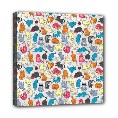 Funny Cute Colorful Cats Pattern Mini Canvas 8  X 8