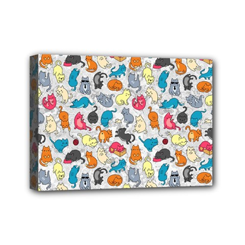 Funny Cute Colorful Cats Pattern Mini Canvas 7  X 5  by EDDArt