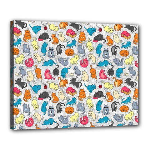 Funny Cute Colorful Cats Pattern Canvas 20  X 16  by EDDArt