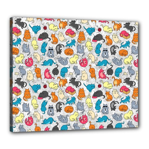 Funny Cute Colorful Cats Pattern Canvas 24  X 20  by EDDArt