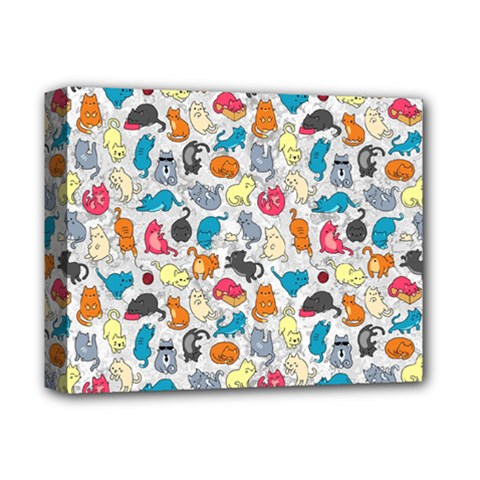 Funny Cute Colorful Cats Pattern Deluxe Canvas 14  X 11