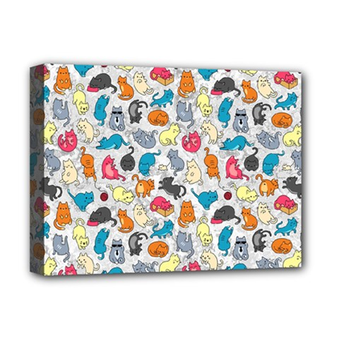 Funny Cute Colorful Cats Pattern Deluxe Canvas 16  X 12