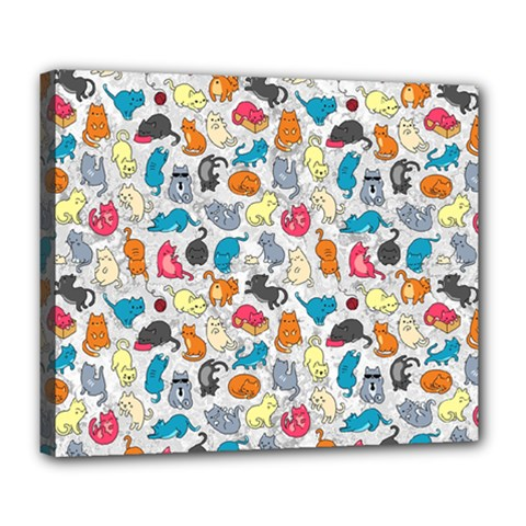 Funny Cute Colorful Cats Pattern Deluxe Canvas 24  X 20   by EDDArt