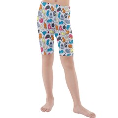 Funny Cute Colorful Cats Pattern Kids  Mid Length Swim Shorts