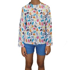 Funny Cute Colorful Cats Pattern Kids  Long Sleeve Swimwear